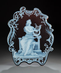 George Woodall for Thomas Webb Cameo Glass Plaque: Music, circa 1890 Signed: GEO. WOODALL 12-1/4 x 10 inches (
