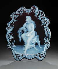 George Woodall for Thomas Webb Cameo Glass Plaque: Poetry, circa 1885 Signed: Geo. Woodall 12-1/4 x 10 inches