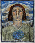 Works on Paper, Jessica Rice (American, 1941-2016). Portrait of a Woman with Blue Flowers, 1995. Acrylic on paper. 30 x 24 inches (76.2 ...