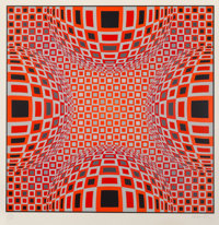Victor Vasarely (French, 1906-1997) Composition in Red, Blue and Grey, 1973 Screenprint in colors on paper 30 x 30 in