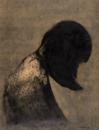 Rafael Coronel (Mexican, 1932-2019) Untitled (girl in profile) (Two Works), 1958 Mixed media on paper, each 25 x ... (To...