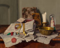 Paintings, Arpád Romek (Hungarian, 1883-1960). Still Life with Books, Brass Bowl, and Candle. Oil on canvas. 16 x 20 inches (40.6 x...