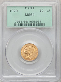 1929 $2 1/2 MS64 PCGS. PCGS Population: (2057/229). NGC Census: (2826/288). CDN: $540 Whsle. Bid for NGC/PCGS MS64. Mint...