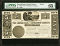 Obsoletes By State:Pennsylvania, Mauch Chunk, PA- Lehigh Coal and Navigation Company $5 184_ as Hoober 225-21 PMG Gem Uncirculated 65 EPQ.. ...