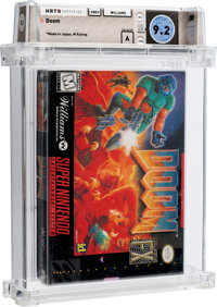 Doom [Made in Japan, Early Production] Wata 9.2 A Sealed SNES Williams 1995 USA