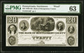 Obsoletes By State:Pennsylvania, Norristown, PA- Bank of Montgomery County $20 18__ G46 Hoober 281-8 Proof PMG Choice Uncirculated 63.. ...