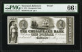 Baltimore, MD- Chesapeake Bank $1 May 2, 1842 UNL Shank 5.25.2P Proof PMG Gem Uncirculated 66 EPQ