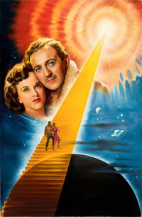 """Stairway to Heaven by Arsen Roje (Columbia, R-1995). Very Fine+. Original Acrylic Poster Artwork on Canvas (27"""" X 4..."""