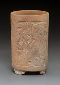 Pre-Columbian:Ceramics, A Late Classic Maya Cylinder with Carved Palace Scenes...