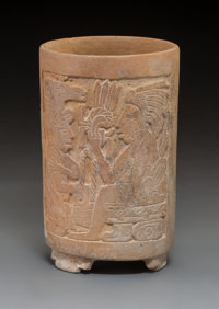 A Late Classic Maya Cylinder with Carved Palace Scenes