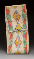 American Indian Art:Beadwork and Quillwork, A Plateau Painted Parfleche Storage Envelope...