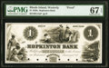Obsoletes By State:Rhode Island, Westerly, RI- Hopkinton Bank $1 Jan. 10, 18__ as G14a as Durand 2443 Proof PMG Superb Gem Unc 67 EPQ.. ...