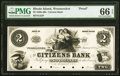 Obsoletes By State:Rhode Island, Woonsocket, RI- Citizens Bank $2 Jan. 6, 18__ G22 Durand 2595 Proof PMG Gem Uncirculated 66 EPQ.. ...