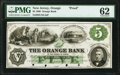Obsoletes By State:New Jersey, Orange, NJ- Orange Bank in the County of Essex $5 June 1, 1860 as G24a as Wait 1816 Proof PMG Uncirculated 62....
