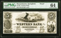 Obsoletes By State:Massachusetts, Springfield, MA- Western Bank $5 Jan. 1, 1851 as G20 Proof PMG Choice Uncirculated 64.. ...