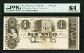 New York, NY- Bank of New York $1 18__ G152 Proof PMG Choice Uncirculated 64