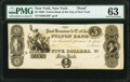New York, NY- Fulton Bank of the City of New York $5 18__ G20 Proof PMG Choice Uncirculated 63