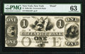 New York, NY- Greenwich Bank $1 July 1, 18__ G32 Proof PMG Choice Uncirculated 63