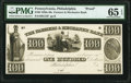 Obsoletes By State:Pennsylvania, Philadelphia, PA- Farmers & Mechanics Bank $100 18__ G72 Hoober 305-270 Proof PMG Gem Uncirculated 65 EPQ.. ...