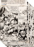 Original Comic Art:Complete Story, Bob Lubbers Rangers Comics #19 Complete 8-Page Story Original Art(Fiction House, 1942)....