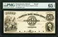 Bristol, PA- Farmers Bank of Bucks County $50 18__ G44 as Hoober 39-15 Proof PMG Gem Uncirculated 65 EPQ