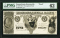 Obsoletes By State:Pennsylvania, Brownsville, PA- Monongahela Bank of Brownsville $5 18__ G34 as Hoober 46-4 Proof PMG Uncirculated 62.. ...