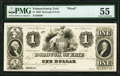 Obsoletes By State:Pennsylvania, Erie, PA- Borough of Erie $1 18__ Hoober 114-21 Proof PMG About Uncirculated 55.. ...