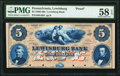 Obsoletes By State:Pennsylvania, Lewisburg, PA- Lewisburg Bank $5 18__ as G4b Proof PMG Choice About Unc 58 EPQ.. ...