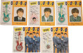 Music Memorabilia:Memorabilia, The Beatles Five Brooches on Color Backing Cards With Four...