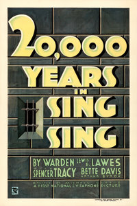 """20,000 Years in Sing Sing (First National, 1932). Very Fine+ on Linen. One Sheet (27.5"""" X 41"""")"""