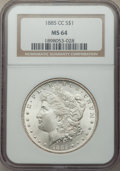 1885-CC $1 MS64 NGC. NGC Census: (3779/2583). PCGS Population: (8415/5904). CDN: $600 Whsle. Bid for NGC/PCGS MS64. Mint...