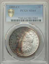 1885-CC $1 MS64 PCGS. PCGS Population: (8415/5904 and 392/386+). NGC Census: (3779/2583 and 83/98+). CDN: $600 Whsle. Bi...