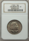 1893 50C Columbian MS65 NGC. NGC Census: (667/181). PCGS Population: (659/292). MS65. Mintage 1,550,405. From The Spr...