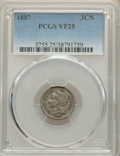 1887 3CN VF25 PCGS. PCGS Population: (7/252). NGC Census: (2/111). CDN: $425 Whsle. Bid for NGC/PCGS VF25. Mintage 5,000...