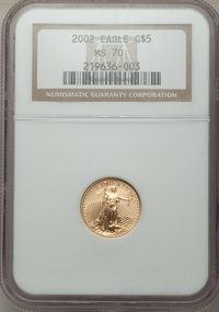 2002 $5 Tenth-Ounce Gold Eagle MS70 NGC. NGC Census: (5393). PCGS Population: (104). CDN: $325 Whsle. Bid for NGC/PCGS M...