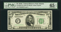 Fr. 1959-F $5 1934C Wide Federal Reserve Note. PMG Gem Uncirculated 65 EPQ