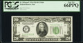 Fr. 2054-F $20 1934 Dark Green Seal Mule Federal Reserve Note. PCGS Gem New 66PPQ