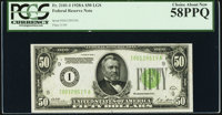 Fr. 2101-I $50 1928A Light Green Seal Federal Reserve Note. PCGS Choice About New 58PPQ