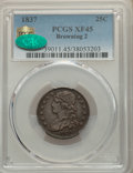 Bust Quarters, 1837 25C B-2, R.1, XF45 PCGS. CAC. PCGS Population: (1/6 and 0/0+). NGC Census: (2/8 and 0/0+). XF45. Mintage 252,400. . ...