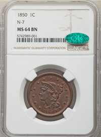 1850 1C N-7, R.2, MS64 Brown NGC. CAC. NGC Census: (7/8). PCGS Population: (5/5). MS64. From The Spring Creek Collect...