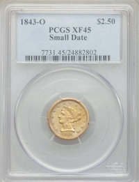1843-O $2 1/2 Small Date, Crosslet 4 XF45 PCGS. PCGS Population: (102/219). NGC Census: (113/597). CDN: $330 Whsle. Bid...