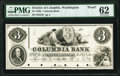 Obsoletes By State:District of Columbia, Washington, DC- Columbia Bank $3 185_ as G4 Proof PMG Uncirculated 62.. ...
