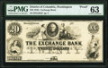 Obsoletes By State:District of Columbia, Washington City, DC- Exchange Bank $20 18__ as G20a Proof PMG Choice Uncirculated 63.. ...