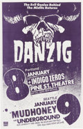 """Music Memorabilia:Posters, Danzig Portland and Seattle 11"""" x 17"""" Concert Poster Signed by Designer Mike King (1989)...."""