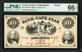 Obsoletes By State:North Carolina, Wilmington, NC- Bank of Cape Fear $10 18__ as Design 10F Proof PMG Gem Uncirculated 66 EPQ.. ...