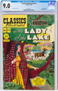 Golden Age (1938-1955):Classics Illustrated, Classics Illustrated #75 The Lady of the Lake - First Edition (Gilberton, 1950) CGC VF/NM 9.0 Off-white to white pages....