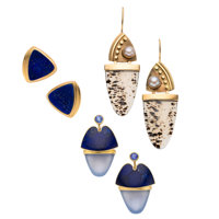 Multi-Stone, Gold Earrings ... (Total: 3 Items)