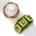 Estate Jewelry:Rings, Peridot, Mabe Pearl, Enamel, Gold Rings. ... (Total: 2 Items)