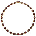 Estate Jewelry:Necklaces, Garnet, Gold Necklace. ...