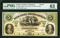 Charleston, SC- Bank of the State of South Carolina $5 18__ as G50a as Sheheen 573 Proof PMG Choice Uncirculated 63